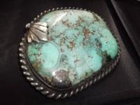 Large Mens Turquoise and Sterling Silver Belt Buckle.