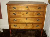 Early country antique solid maple four drawer chest,