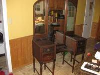 antique vanity, 68' tall 45' long, 18' deep, $350. .