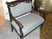 ANTIQUE VICTORIAN SETTEE, HARD WOOD & BLUE UPHOLSTERY