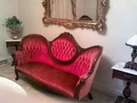 Beautiful Red Velvet sofa ( solid red ) and two chairs