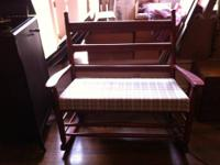 Nice antique/vintage double loveseat wooden rocker with