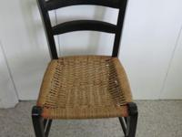 Antique Vintage Ladderback Chair with Woven Seat This