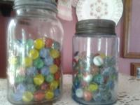 Antique/Vintage mason jars filled w/ small vintage