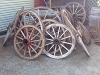 I have several antique wooden wagon wheels. Great