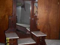 Antique Walnut Burl Inlay Bedroom Set, Dresser has