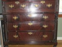 Antique walnut Chest of drawers. One brass handle is