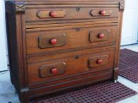 Solid antique walnut wood, three drawer dresser (needs