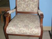Elegant Antique Walnut Parlor Chair with delicate light
