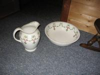 ANTIQUE WASH BOWL AND PITCHER...CONDITION GOOD SOME