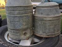 Antique galvanized water coolers.  $best offer.