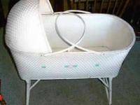 ANTIQUE WHITE BABY CRADLE  FOLDABLE LEGS WITH WHEELS ON