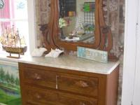 Antique white marble leading dresser with ornamental
