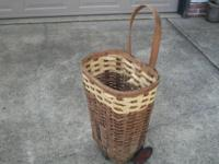 ANTIQUE SHOPPING CART- Rare and unusual wicker piece.