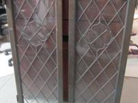 Set of two decorative antique window panes. Good