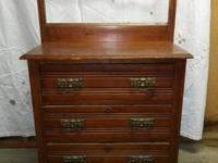 Antique wood commode / dresser, with towel rod & three