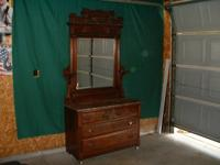 Antique Dresser with Swivel Mirror and Marble Top