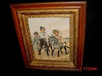 Antique Wood Framed Children & Donkey Print Under