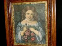 "Nice Antique Wood Frame ""Little Gardner"" Wood Backing"