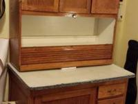Great antique strong wood Hoosier bakers kitchen area