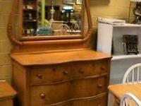 Antique Wood Serpentine Dresser Chest Drawer Mirror
