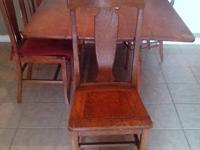 GENUINE WOOD DROP SIDE DINING ROOM TABLE WITH 4 CHAIRS.
