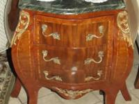 Antique Wood Table with Brass Trim that is all wood and