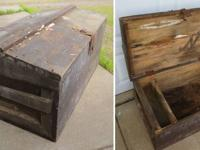 ANTIQUE WOOD TOOL CHEST.  Have to be refinished;