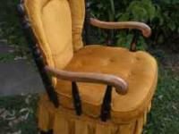 antique wooden arm chair with gold chenille removable