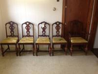 Up for sale is a farm fresh 5 wooden chair set yellow