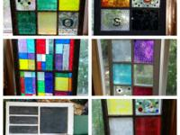 Antique wooden glass windows. Plain and decorated