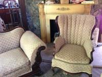 Antique matching horse haired couch and chair. Great