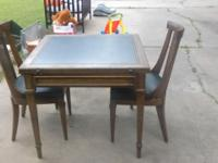 Leather top antique game table dining table and 2