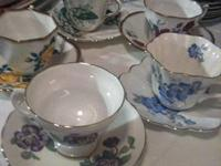 Set Of 5 Antique Gold Trim Fine Bone China Cups /