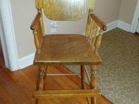 Antique Wood High Chair-or Youth Chair $45.00 I am firm