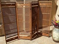 Antique Japanese 4-Panel Bamboo Screen 63  x 47  $200