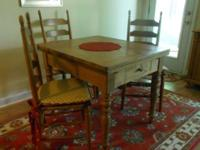 Circa 1860 solid pine table with dovetail construction