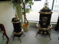 Gorgeous Antique round parlor lumber stoves:. Small