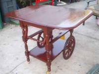 Antique Tea Cart Wheel table folds down on the sides
