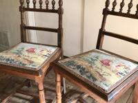 Antique,  wooden small side chairs . Tapestry cloth