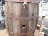 Antique Barrel With Spigot.  34 Inches High.  GENTLY
