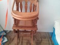 Antique Oak High Chair, Antique Table & 6 Chairs,