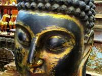 This huge wood Shakyamuni elm wood Buddha head came