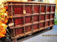 This hand selected old rustic teak wood cabinet came