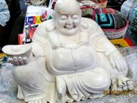 This happy Buddha statue hand carved from Hebei, China