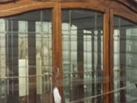 EVERYTHING NEGOTIABLE LEADED GLASS HUTCH AND TABLE WITH