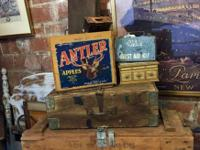 Antler Apples Wood Crate 1930's In Excellent Condition