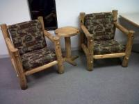 Appalachian Designs....2 Chairs. 1 little round stand..