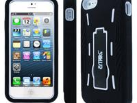 Tough Black and White Kickstand Case for Apple iPhone