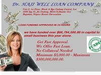 HAJI Well Loan Company; Will like to inform you that